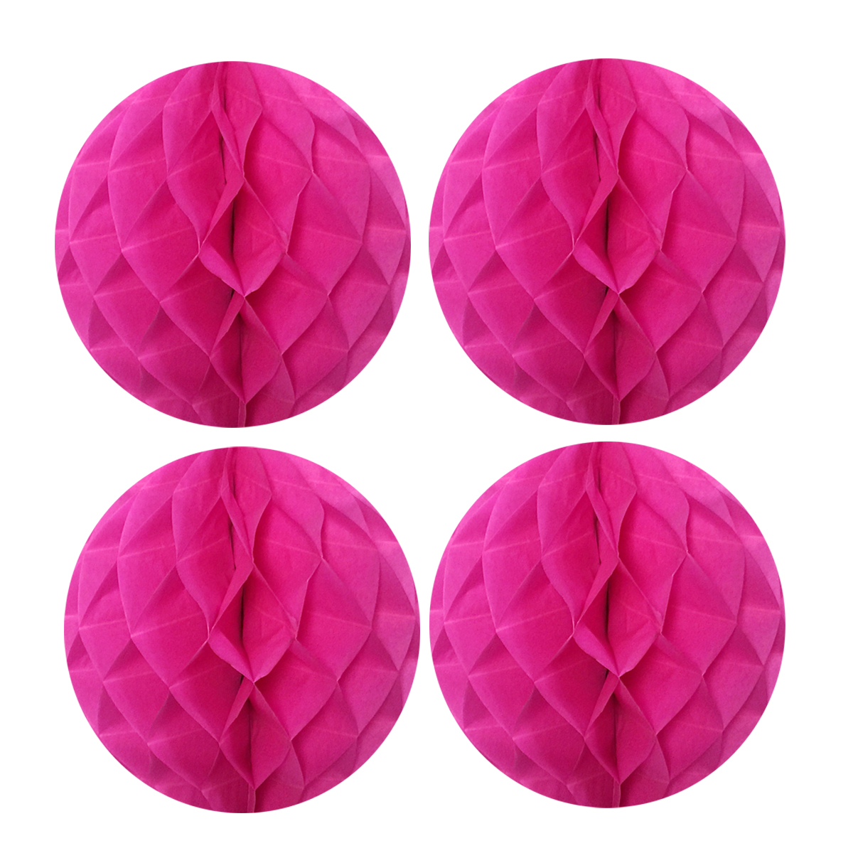 "Wrapables® 8"" Set of 4 Tissue Honeycomb Ball Party Decorations for Weddings, Birthday Parties, Baby Showers, and Nursery Décor, Hot Pink"