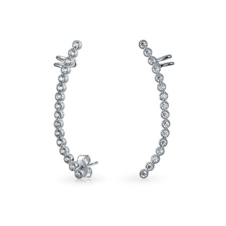 Pave Encrusted Curve Cartilage Ear Cuffs Wrap Clip Graduated Crystal Climber Crawler Lobe Helix Earring Stainless Steel Pave Pyramid Cuff