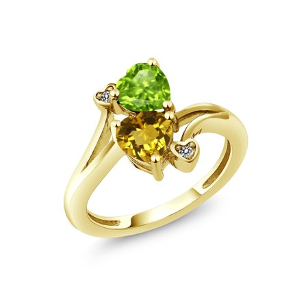 1.56 Ct Green Peridot Yellow Citrine 18K Yellow Gold Plated Silver Ring