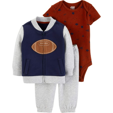 Child of Mine by Carter's Bomber Cardigan, Short Sleeve Bodysuit & Pants, 3-Piece Outfit Set (Baby Boys) - Mime Outfit
