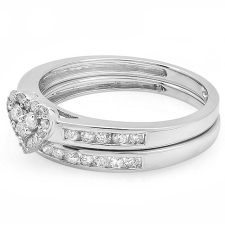 Dazzlingrock Collection 0.55 Carat (ctw) 10k Round & Princess Diamond Ladies Heart Shaped Bridal Ring Engagement Matching Band Set 1/2 CT, White Gold, Size 8.5 (Heart Shaped Engagement Rings)