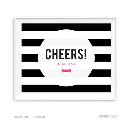 Open Bar Cheers! Modern Black and White Stripes Wedding Party Signs](Open Bar Wedding)