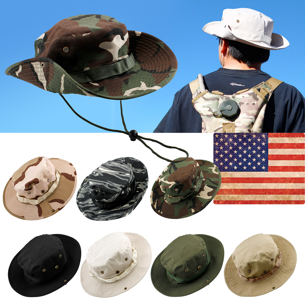 Fishing Hunting Bucket Hat Boonie Outdoor Cap Washed Cotton Safari Summer Men