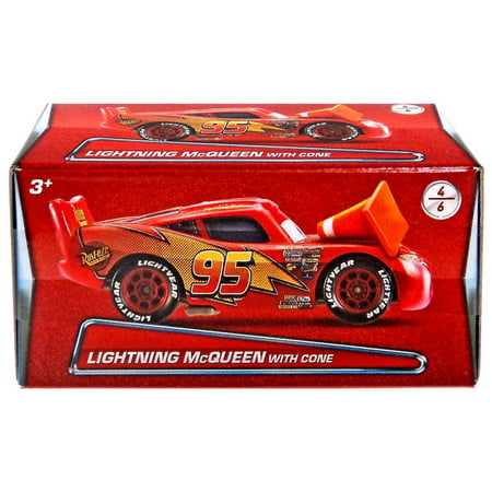 Disney Cars Puzzle Box Series 2 Lightning McQueen with Cone Diecast Car (Lightning Mcqueen Cars 2)
