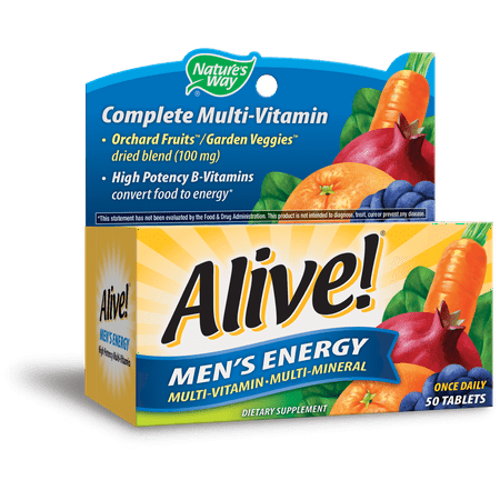 Alive! Men's Energy Multivitamin Supplements with Orchard Fruits & Garden Veggies Powder Blend (100 mg), 50 Tablets