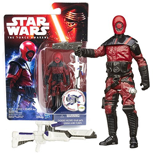 Hasbro Year 2015 Star Wars The Force Awakens Series 4 Inch Tall Action Figure - GUAVIAN (B4165) with Blaster Plus Build A Weapon Part #3