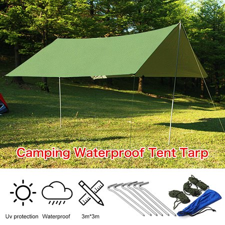Rain Tarp Shelter Sun Sunshade Awning Canopy Beach Camping Waterproof Tent Cover 10x10ft