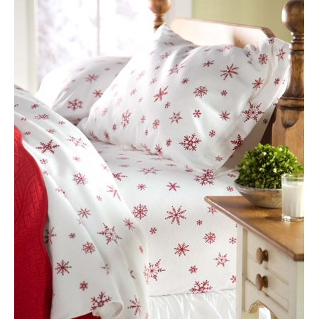 Crystal Snowflake Cotton Flannel Sheet Set Full Size