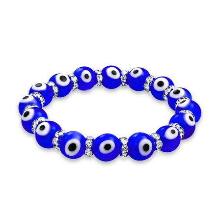 Blue Glass Bracelet (Turkish Blue Evil Eye Glass Bead Stretch Bracelet For Women Rondelle Crystal Spacers For Protection And Good Luck)