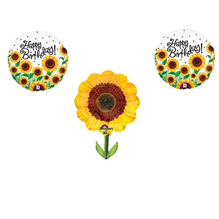 SUNFLOWERS Happy Birthday Balloons Decoration Supplies Summer Frozen 1st by Anagram