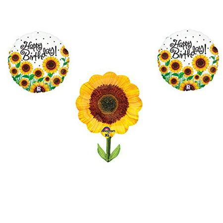 SUNFLOWERS Happy Birthday Balloons Decoration Supplies Summer Frozen 1st by Anagram (Frozen Supplies)