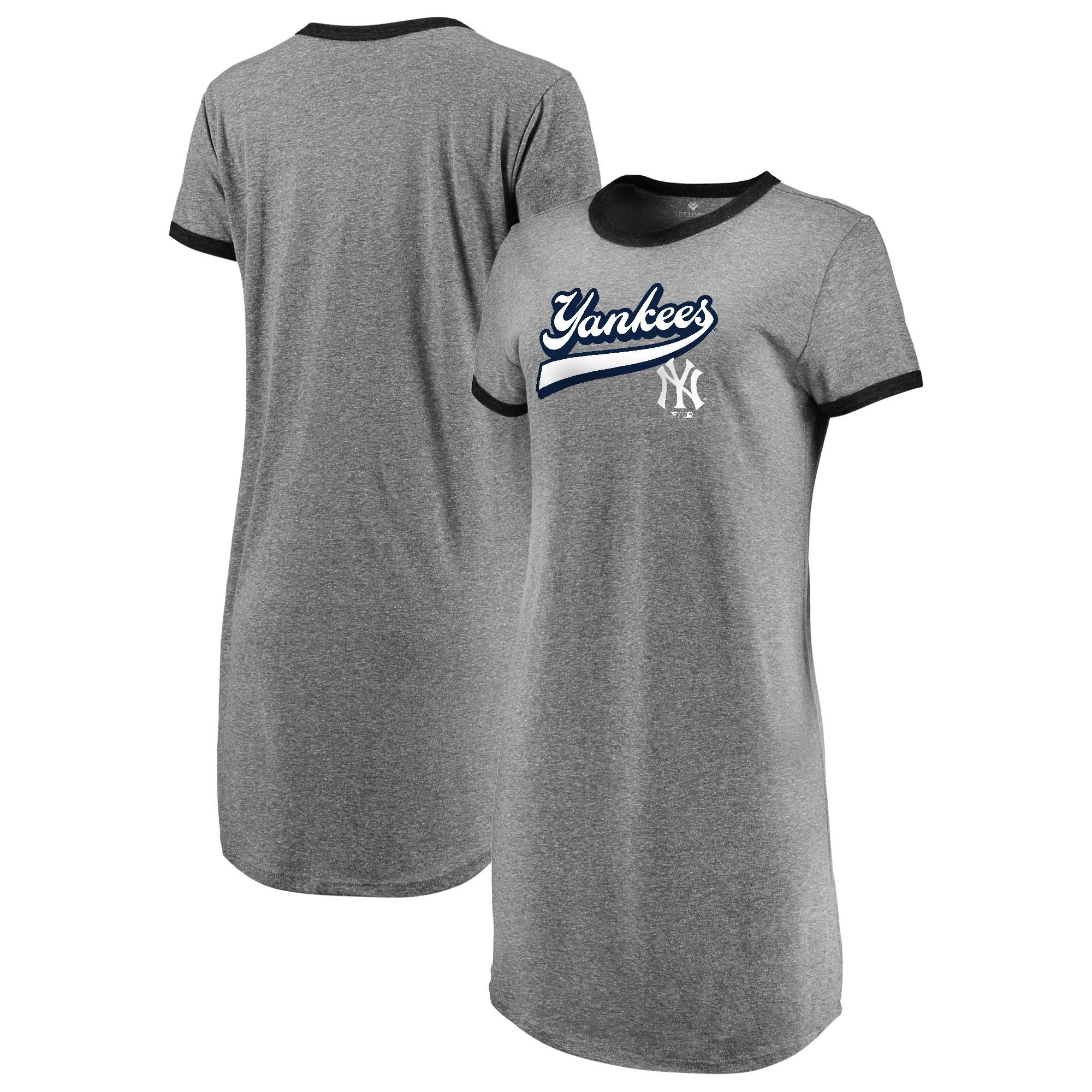 New York Yankees Fanatics Branded Women s Tri-Blend T-Shirt Dress -  Heathered Gray - Walmart.com 990a213fc2f