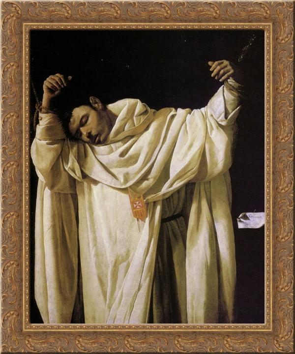 Beato Serapio 24x20 Gold Ornate Wood Framed Canvas Art by Francisco de Zurbaran by FrameToWall