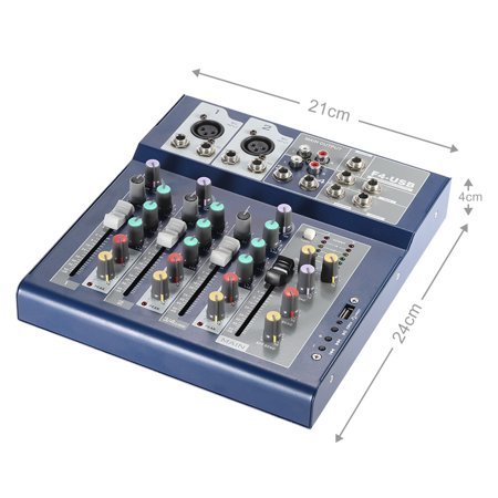 Professional Metal 4 Channel Live Mixer Mixing Console 3-Band EQ USB Function 48V Phantom with Bulit-in Effect Processor Mic Input - image 2 of 7
