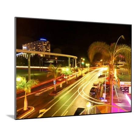 City Street at Night with Monorail and Jupiters Casino, Broadbeach, Australia Wood Mounted Print Wall Art By David Wall](Casino Theme Night)