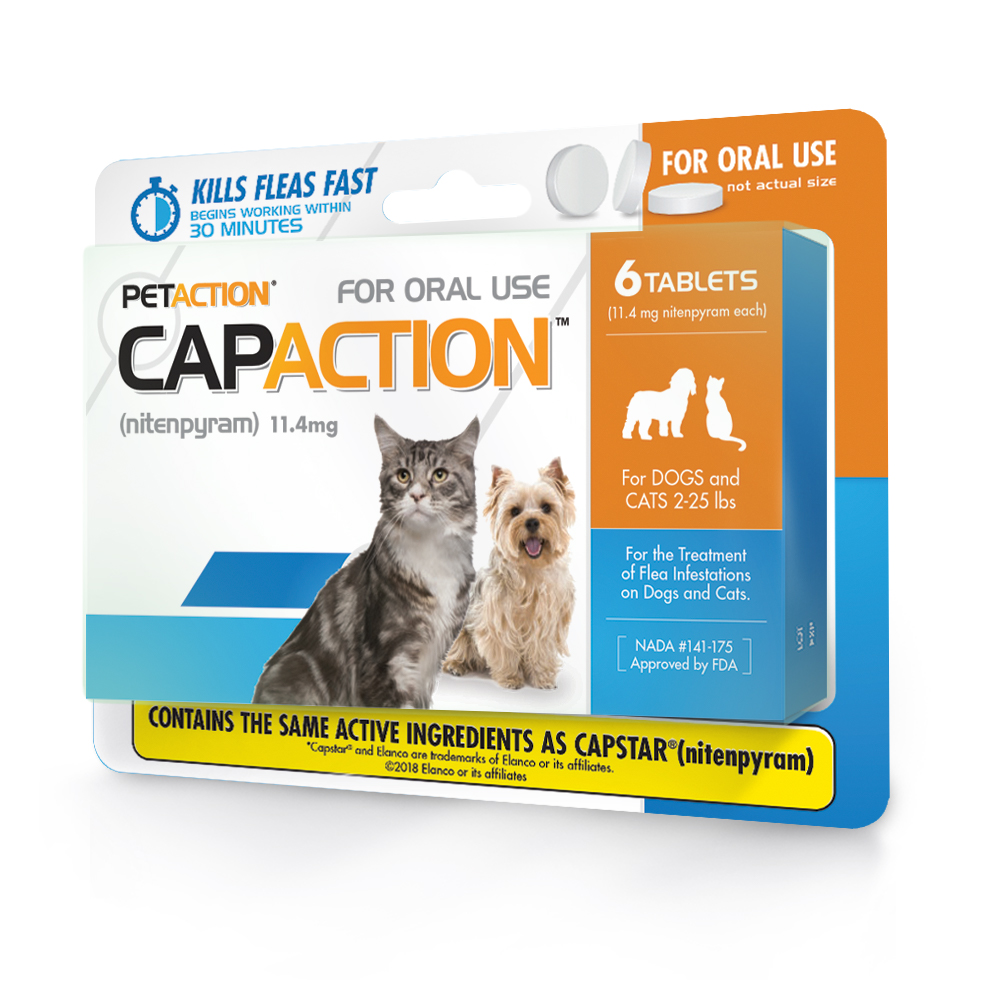 CapAction Fast Acting Flea Treatment for Cats, 6 Tablets