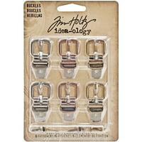 """Idea-Ology Buckles W/Fasteners 1.5"""" 6/Pkg-Antique Nickel, Brass & Copper"""
