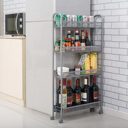 Ktaxon 4-Tier Rolling Cart Gap Kitchen Slim Slide Out Storage Tower Rack with Wheels,4 Baskets,Cupboard Sliding Rackmount Shelf