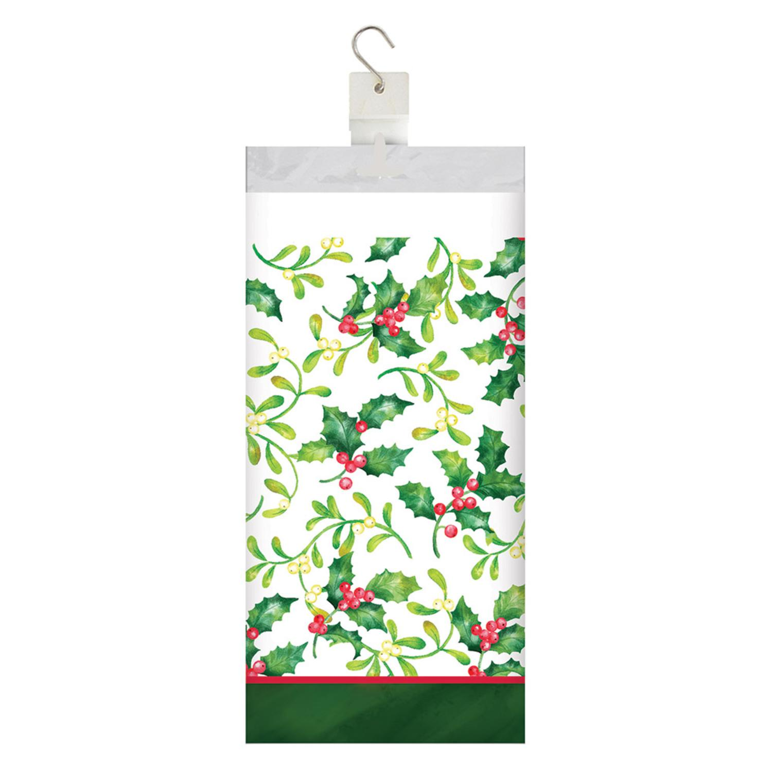 """Club Pack of 12 White and Green Christmas Themed Holly Berries Tablecover 16.25"""""""