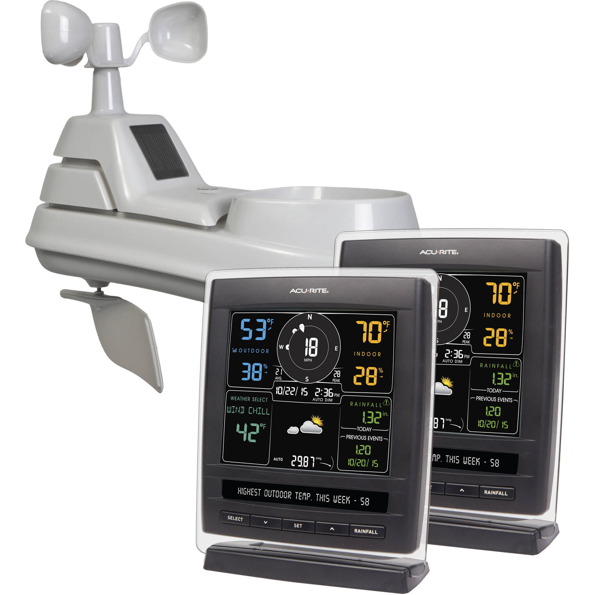 Image of AcuRite 5-in-1 Pro Weather Station with 2 Displays