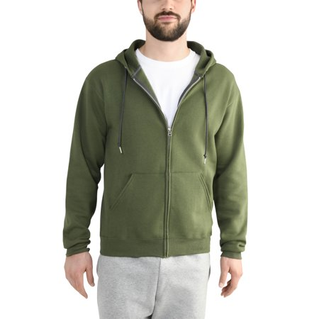 Fruit of the Loom Men's Dual Defense EverSoft Fleece Full Zip Hooded Sweatshirt (Screen Zip Fleece)
