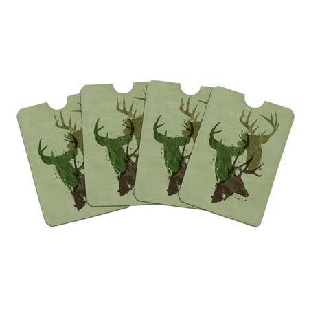 Deer Heads Trio Design Hunting Hunter Camouflage Credit Card RFID Blocker Holder Protector Wallet Purse Sleeves Set of 4