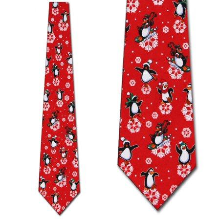 Snowflake Tie (Penguins and Snowflakes Necktie Mens Tie by Tieguy )