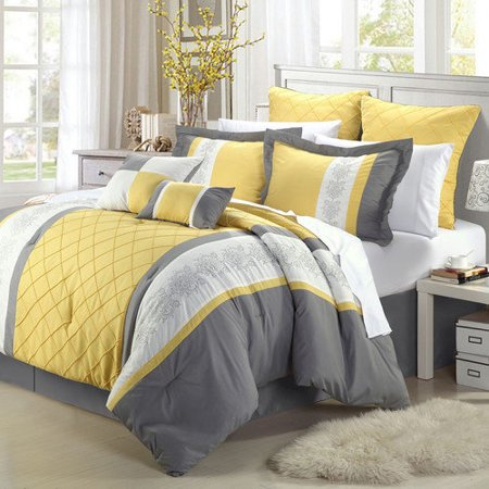 Yellow Comforter - Livingston Yellow Comforter Bed In A Bag Set 8 piece