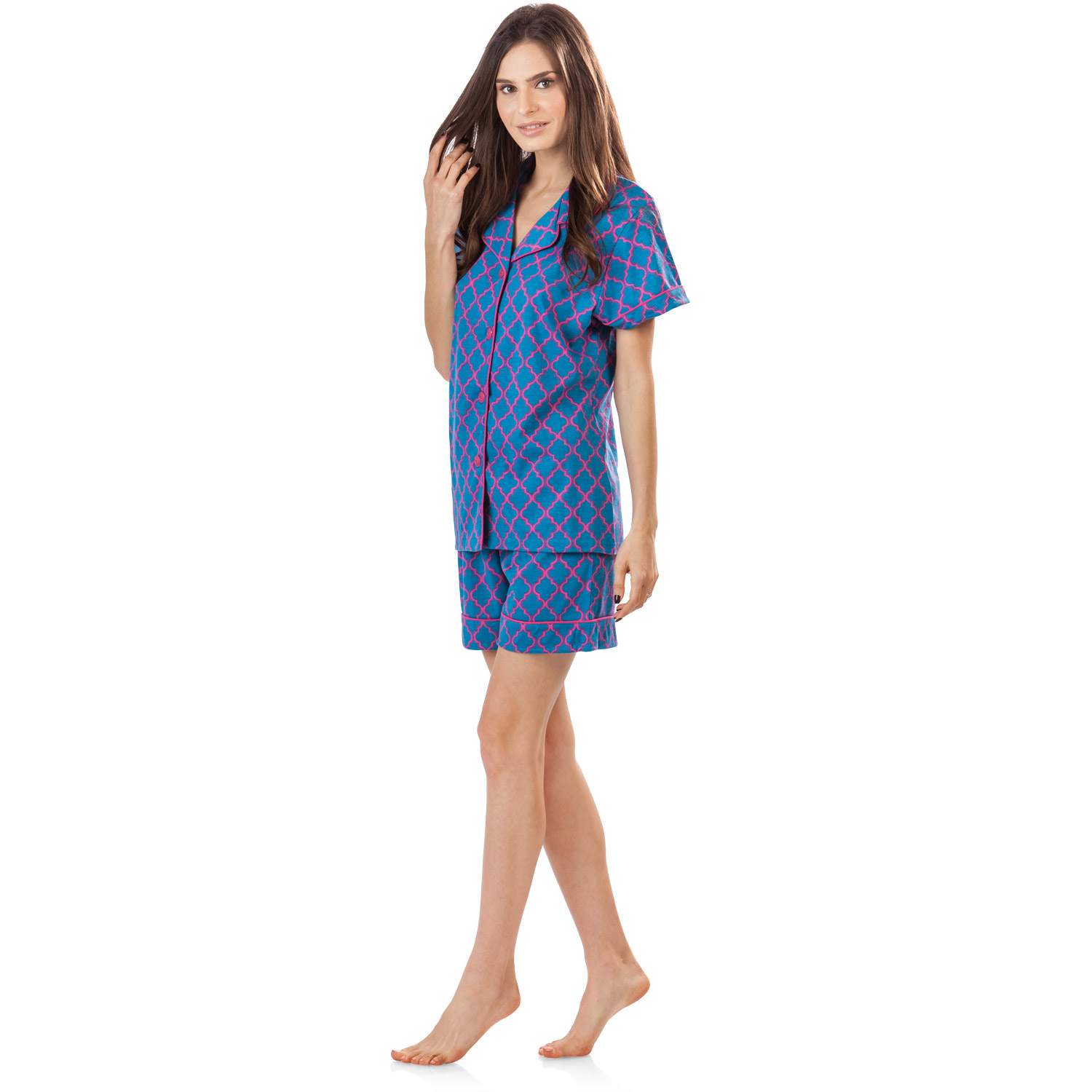 c824f53c266 BedHead Pajamas - BHPJ By Bedhead Pajamas Women's Short Sleeve Pajama  Shorts Set - Jewel Teal Geo Prism - Walmart.com