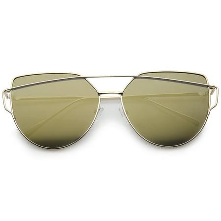sunglassLA - Oversize Metal Frame Thin Temple Color Mirror Flat Lens Aviator Sunglasses - (62mm Aviators)