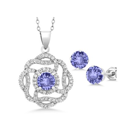 4.76 Ct Round Blue Tanzanite 925 Sterling Silver Pendant Earrings
