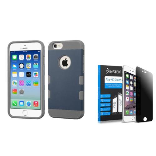 Insten Dual Layer Hybrid Hard Plastic/TPU Shockproof Cover Case for iPhone 6 6s - Blue/Gray (+ Privacy Anti-Spy Tempered Glass Screen Protector Shield )