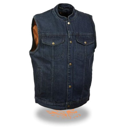 Milwaukee Mens Snap Front Denim Vest w/Gun Pocket Blue
