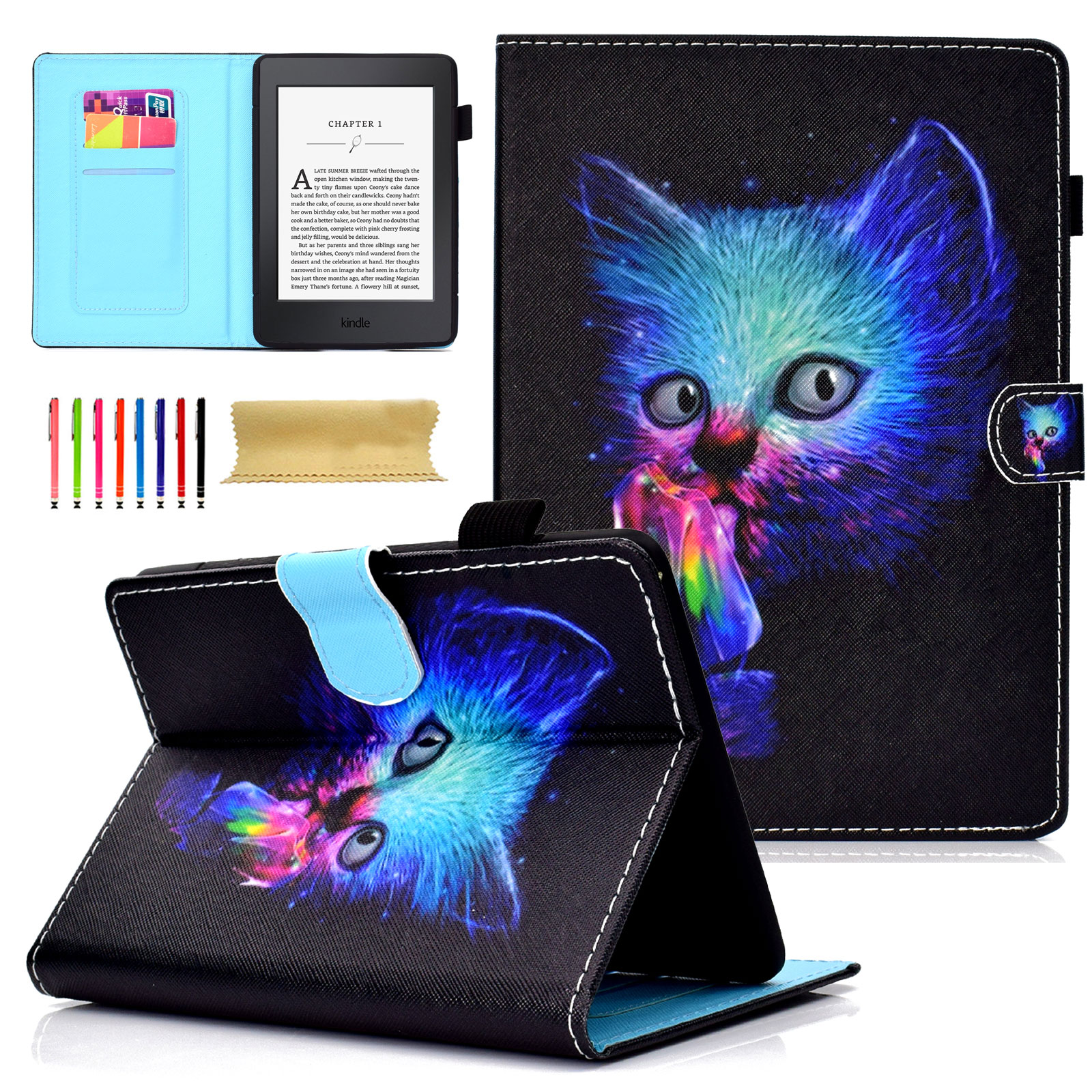 Goodest Smart Case All-New Amazon Kindle Paperwhite E-reader (Fits 2012, 2013, 2014, 2015 and 2016 All-new 300 PPI Version) Flip Folio Smart Stand Case Auto Sleep/Wake Magnetic,Colorful Cat