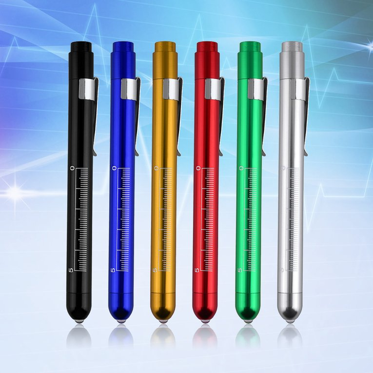 Flashlight Aluminum Medical Surgical Penlight Pen Light Flashlight Torch With Scale First Aid
