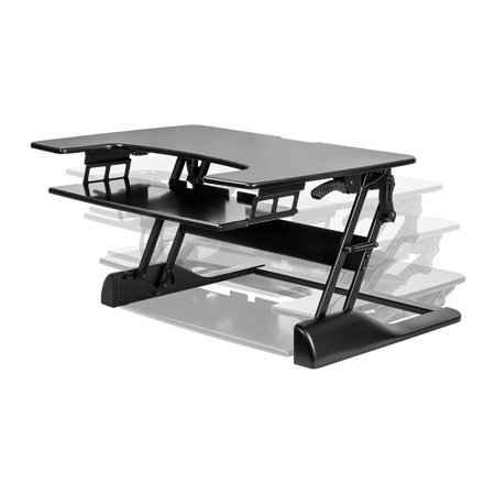 Monoprice 36 Tabletop Height Adjule Sit Stand Desk Raise Up To 19 7 Workstation