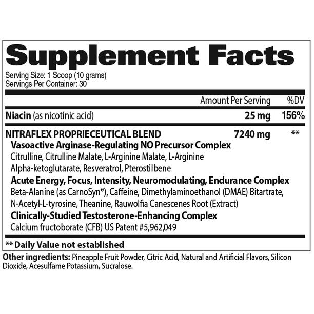 GAT Sport Nitraflex Test Booster Powder, Pineapple, 30 Servings