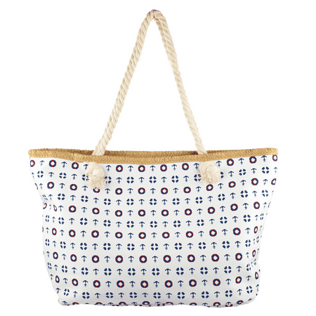 Lux Accessories Lux Accessories Womens Zip Up Beach Bag Anchor Mix