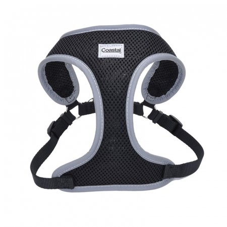 Coastal Pet Comfort Soft Reflective Wrap Adjustable Dog Harness Black - Small - 19-23 Inch Girth - (5/8 Inch Straps)