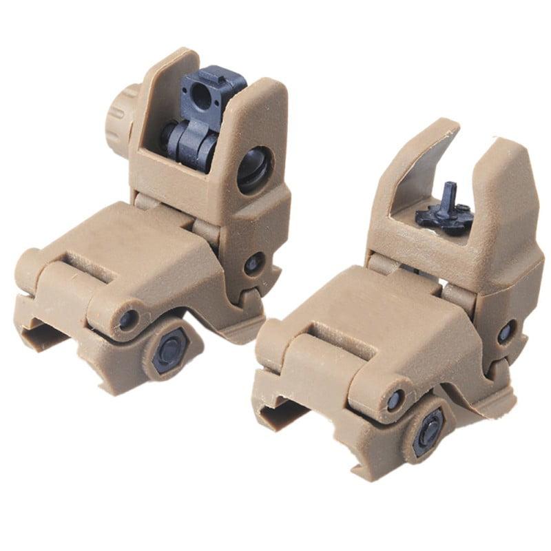 20MM Rail Gen1 2Pcs Tactical Folding Front & Rear Set Flip Up Backup Sights Set