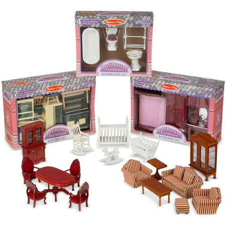 Melissa Doug Classic Victorian Wooden And Upholstered Dollhouse Furniture 35 Pcs