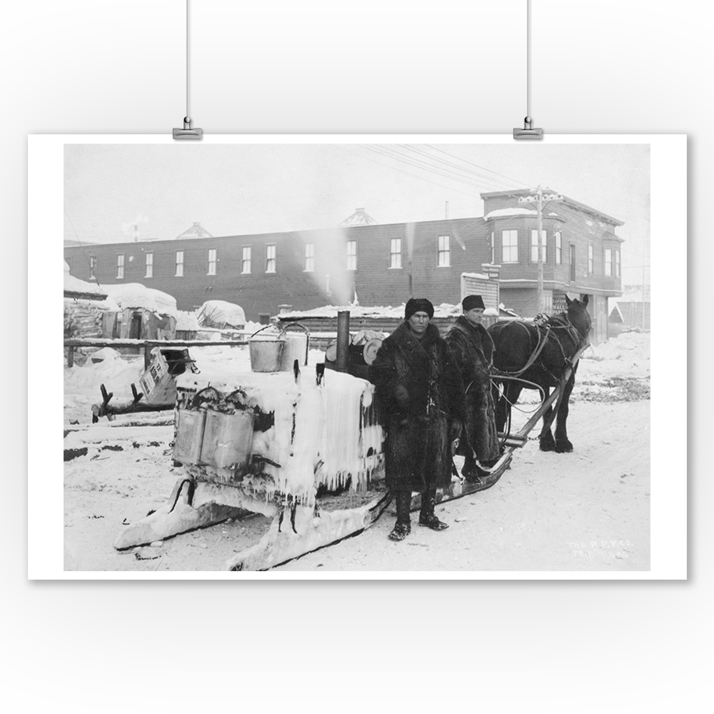 Water Wagon delivering water in Fairbanks, Alaska Photograph (9x12 Art Print, Wall Decor Travel Poster)