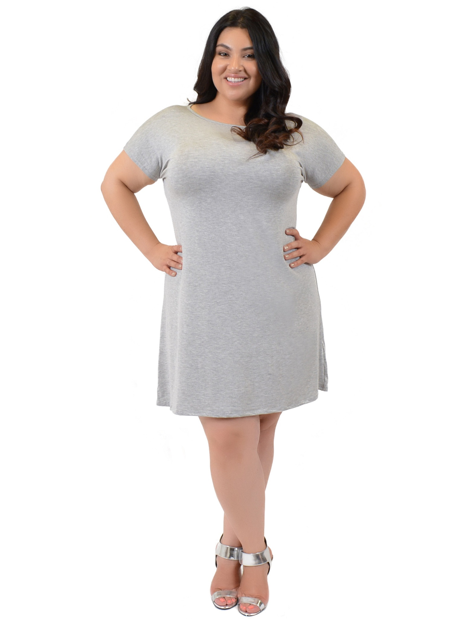 7d1ce7083859 Grey High Neck Short Sleeve Shift Dress   Saddha
