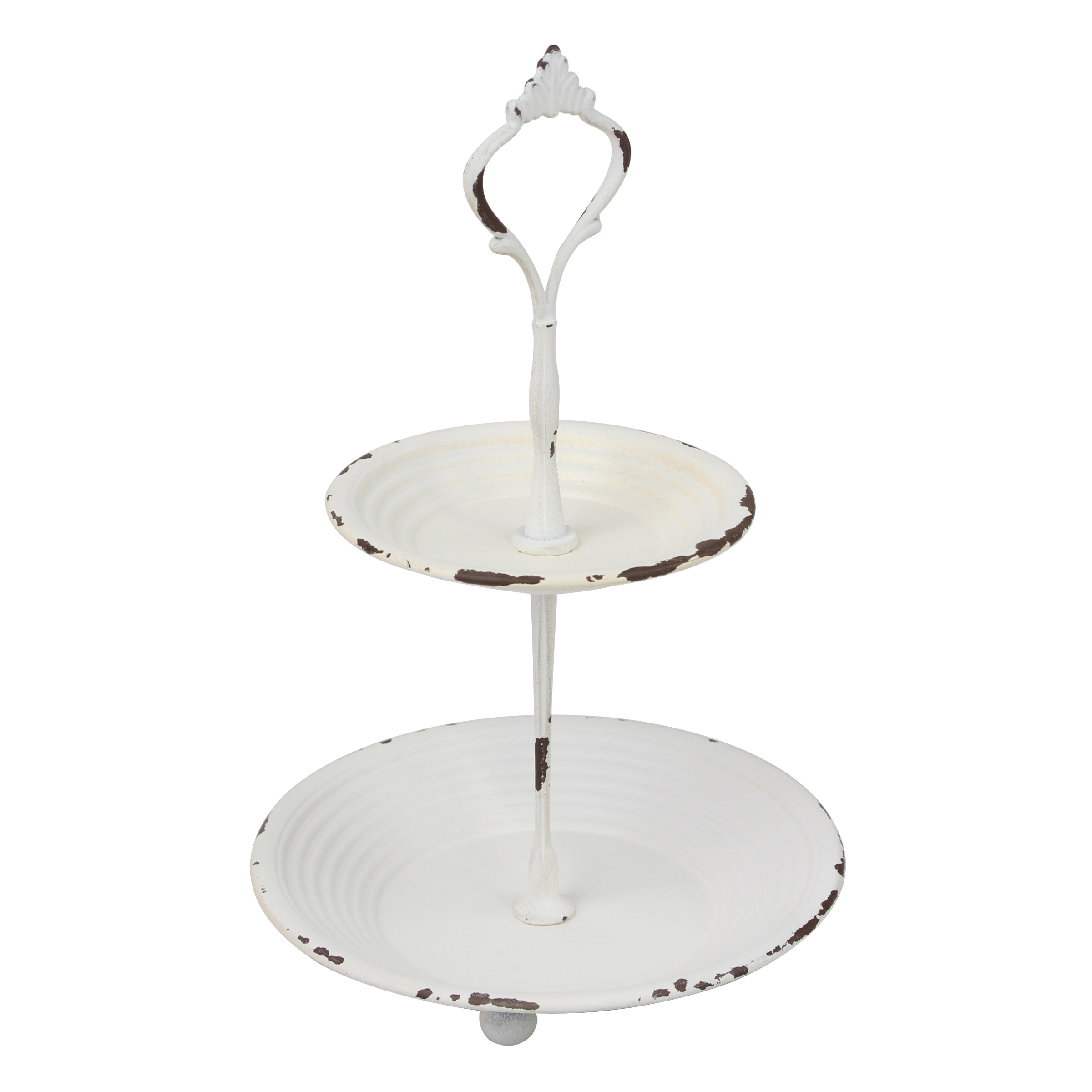 Shabby Chic Worn White Painted 2 Tier Metal Serving Tray With Handle Walmart Com Walmart Com