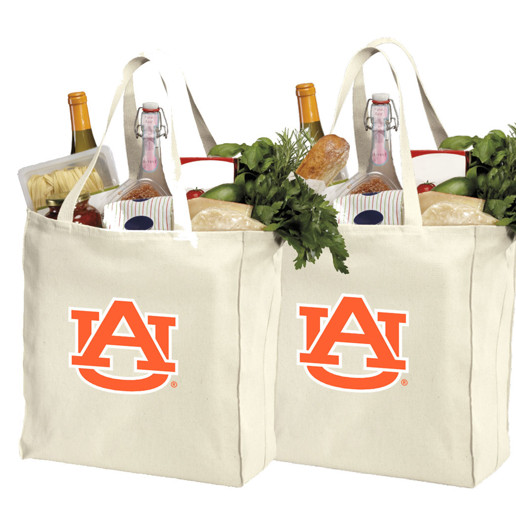 Auburn University Shopping Bags or Cotton Auburn Grocery Bags - 2 Pc Set