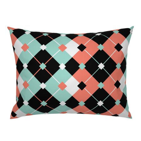 Mint Coral Mid Century 50S Argyle Retro Spoonflower0293 Pillow Sham by Roostery Mist Pillow Sham