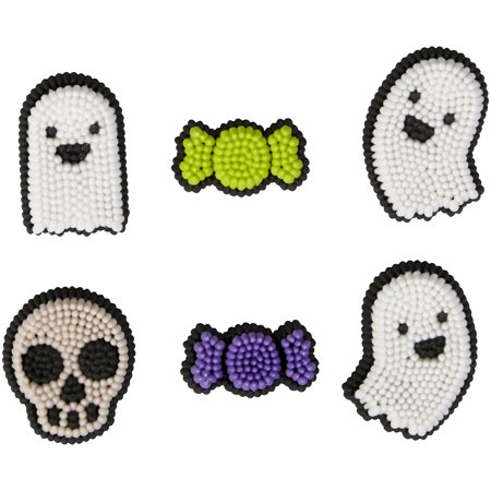 Ghost Skull Dot Matrix Icing Decorations 12 Ct Wilton Halloween - Male Candy Skull Makeup