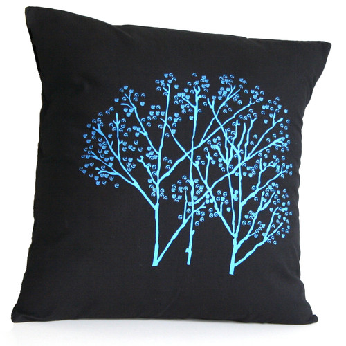 Sustainable Threads Forest Frost on Charcoal Cotton Throw Pillow