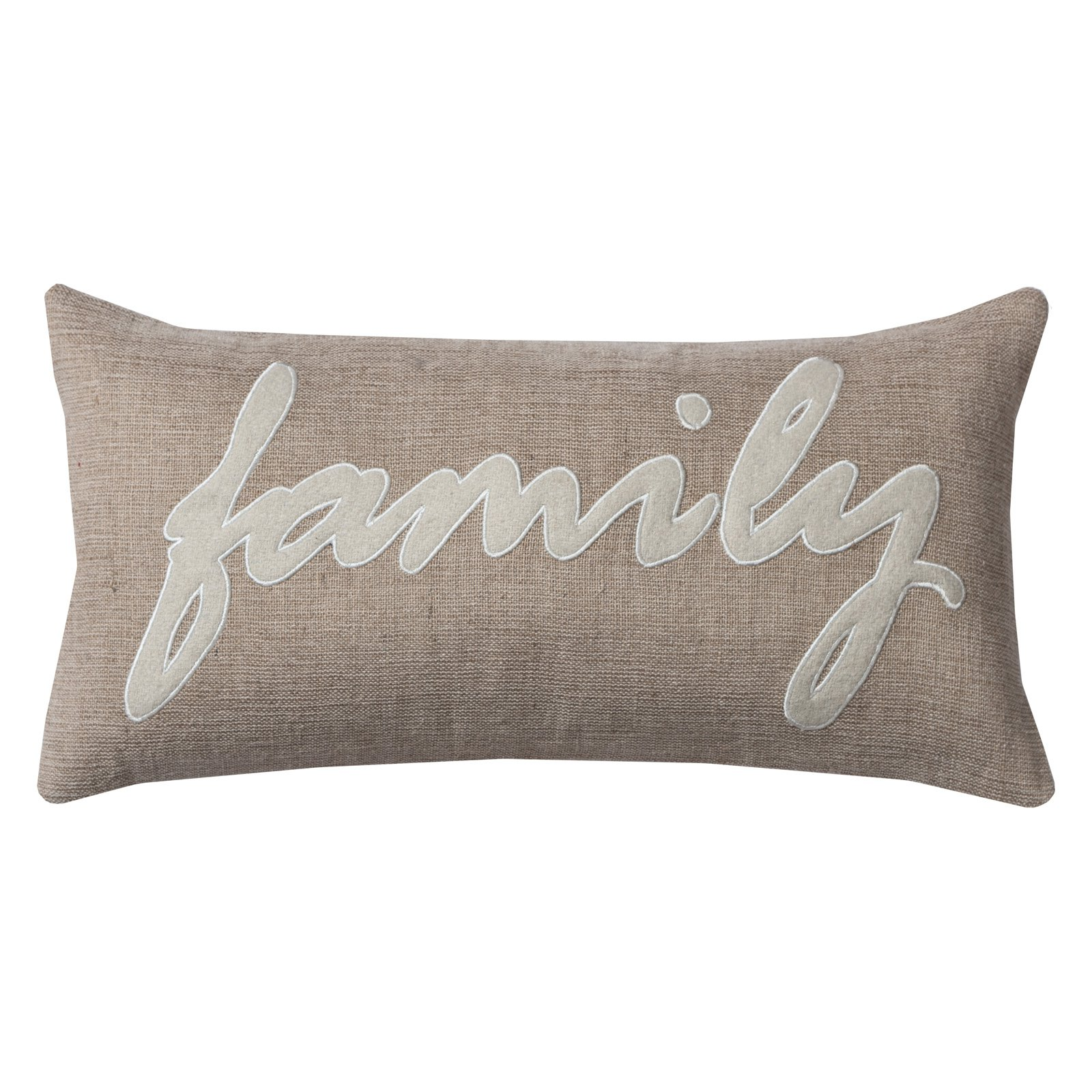 """Rizzy Home One Of A Kind Family Decorative Throw Pillow, 11"""" x 21"""""""