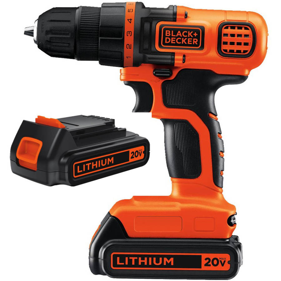 Black & Decker 20V Lithium Compact Cordless Drill with 2 Lithium Ion Batteries